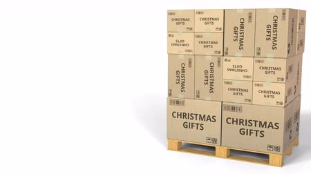importação : Boxes with CHRISTMAS GIFTS caption. Conceptual 3D animation