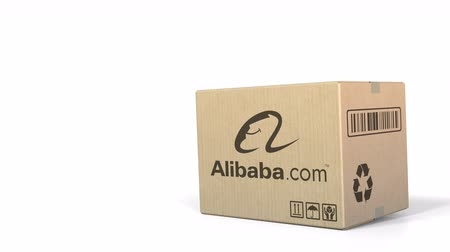sealed : Dropping box with Alibaba logo. Editorial 3D animation
