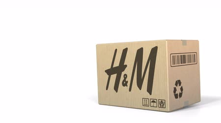 sziám : Dropping box with H&M logo. Editorial 3D animation