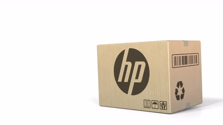 sealed : Falling box with HP logo. Editorial 3D animation Stock Footage