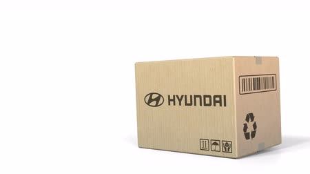 sealed : Falling box with Hyundai logo. Editorial 3D animation Stock Footage