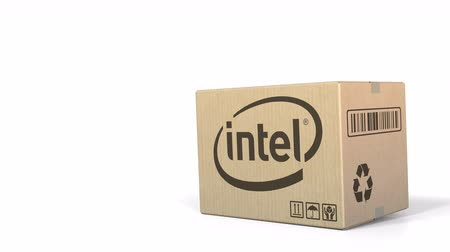 intel : Box with Intel logo. Editorial 3D animation