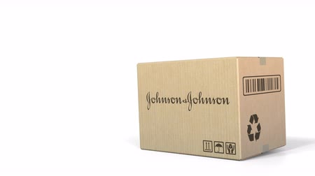 sealed : Dropping box with Johnson and Johnson logo. Editorial 3D animation Stock Footage