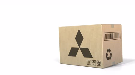 sealed : Falling box with Mitsubishi logo. Editorial 3D animation