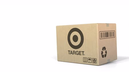 sealed : Box with Target logo. Editorial 3D animation