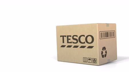 sealed : Falling box with Tesco logo. Editorial 3D animation