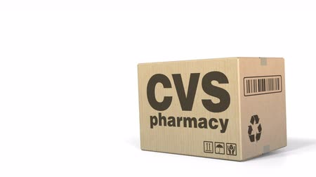 sealed : Falling box with CVS pharmacy logo. Editorial 3D animation Stock Footage