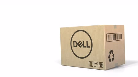 recyklovat : Falling box with Dell logo. Editorial 3D animation