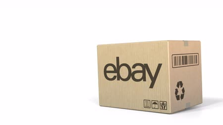ebay : Falling box with eBay logo. Editorial 3D animation Stock Footage
