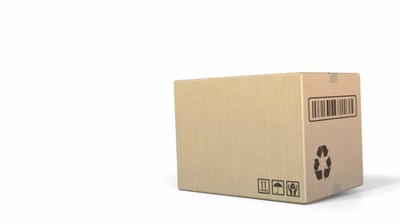 carelessness : Falling box against white background. 3D animation Stock Footage