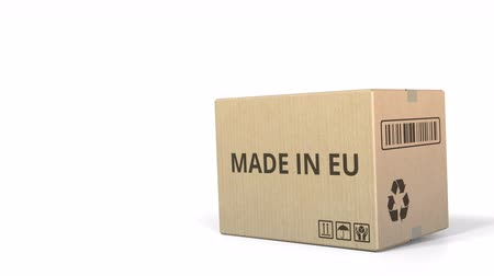 carelessness : Falling carton with MADE IN EU text, 3D animation Stock Footage