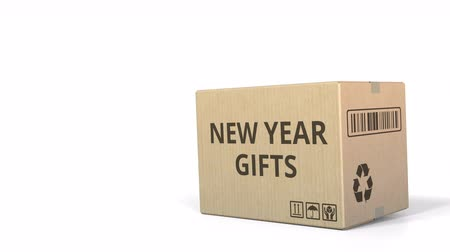 logisztikai : Falling carton with NEW YEAR GIFTS text, 3D animation