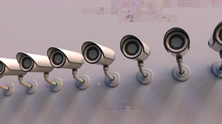 defunct : Glitch noise animation of CCTV cameras. Video surveillance problems related loopable motion background Stock Footage