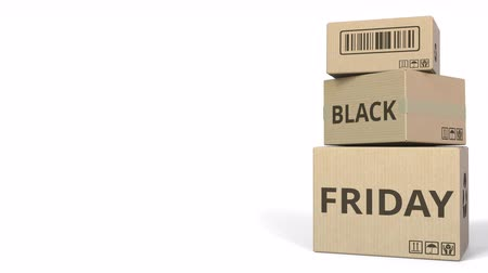 expressar : BLACK FRIDAY text on cartons, blank space for caption. 3D animation