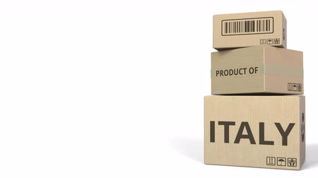 üretim : PRODUCT OF ITALY text on cartons, blank space for caption. 3D animation