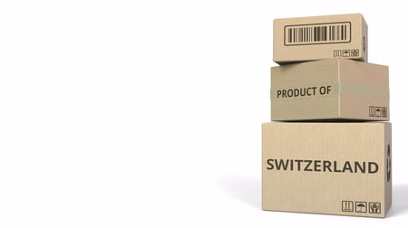 warehouses : PRODUCT OF SWITZERLAND caption on boxes. 3D animation