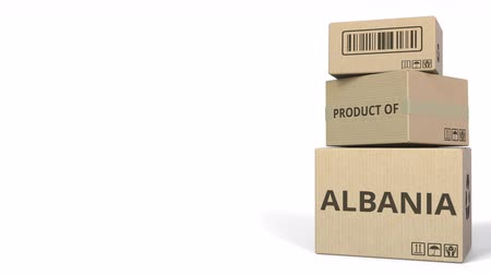 sell : PRODUCT OF ALBANIA text on cartons. Conceptual 3D animation