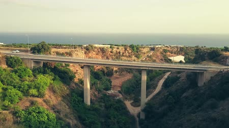 montanhoso : Aerial shot of historic Acueducto del Aguila or Eagle Aqueduct. Nerja, Spain Stock Footage