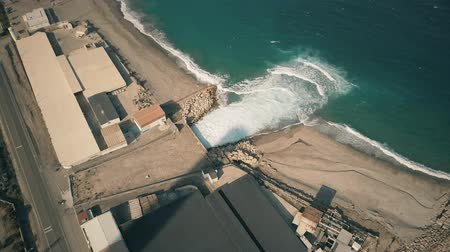 pumping : Aerial view of polluting industrial water drain into sea