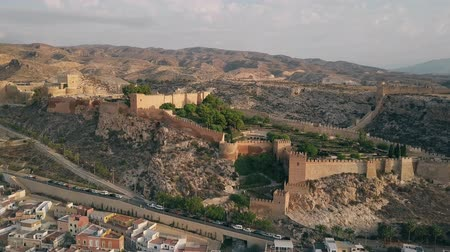 kamenné zdivo : Aerial shot of ancient Alcazaba of Almeria, a fortress in southern Spain