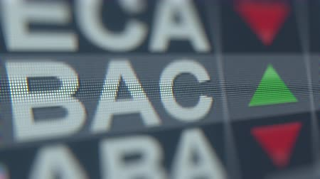 custo : BANK OF AMERICA BAC stock ticker on the screen. Editorial loopable animation