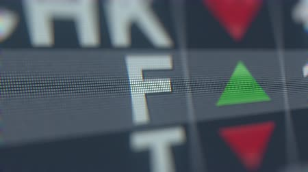 fósforo : FORD MOTOR F stock ticker. Editorial loopable animation