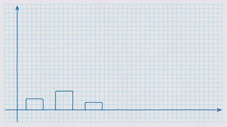 miktar : Animated handwritten rising bar chart on checkered paper. Conceptual animation