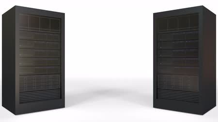 identical : Two server racks against white background, blank space for caption or infographics. Loopable animation