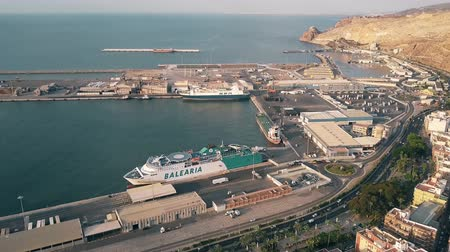 almeria : ALMERIA, SPAIN - SEPTEMBER 26, 2018. Aerial view of Balearia ferry in the seaport