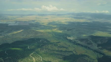 andalusie : Aerial shot of distant solar power station and a wind farm in Spain