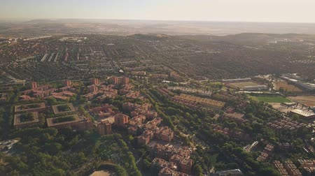 metropolitan area : Aerial view of Rivas-Vaciamadrid, a city in the Community of Madrid, Spain Stock Footage