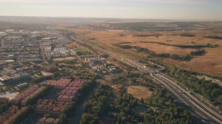 real madrid : Aerial view of Rivas-Vaciamadrid city and A3 motorway from Madrid to Valencia, Spain Stock Footage