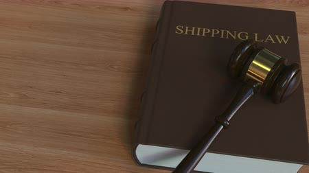 adli : SHIPPING LAW book and judge gavel. 3D animation