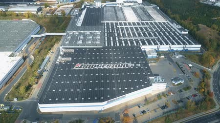 poland : POZNAN, POLAND - OCTOBER 20, 2018. Aerial shot of Bridgestone tire production plant