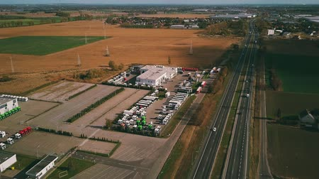 sprzedawca : POZNAN, POLAND - OCTOBER 20, 2018. Aerial view of MAN Truck Bus dealership