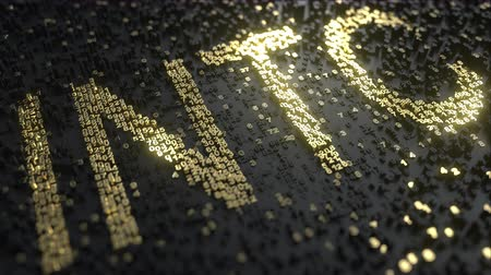 intel : Intel INTC stock ticker made of gold numbers, conceptual editorial animation