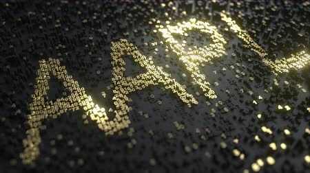 maca : Apple Inc AAPL stock ticker made of gold numbers, conceptual editorial animation