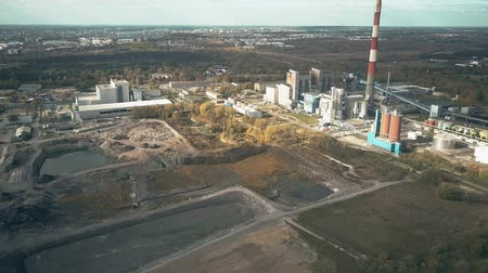 old pit : Aerial view of coal power plant and industrial area outside Poznan, Poland