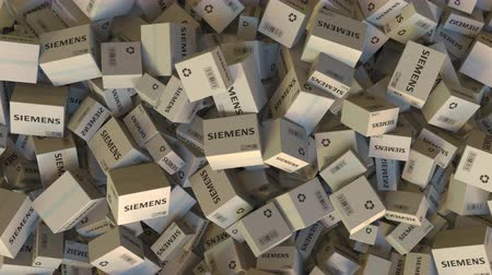 reciclado : Pile of boxes with SIEMENS logo. Editorial animation