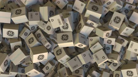 general electric : Pile of boxes with GENERAL ELECTRIC logo. Editorial animation Stock Footage
