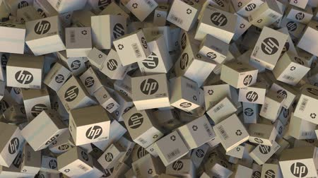 eksport : HP logo on piled cartons. Editorial animation