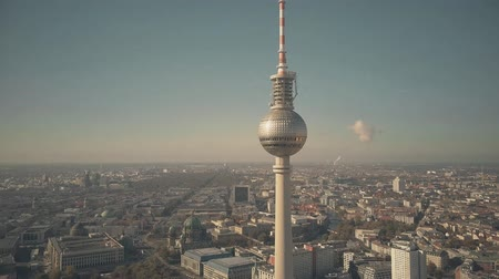 dom : BERLIN, GERMANY - OCTOBER 21, 2018. Aerial view of famous Berliner Fernsehturm or Television Tower