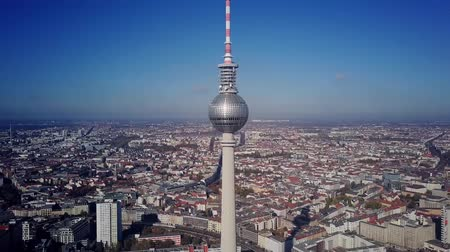 berlin skyline : BERLIN, GERMANY - OCTOBER 21, 2018. TV Tower and cityscape on sunny day, aerial view