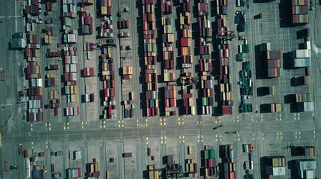unload : Modern seaport container terminal, aerial top down view Stock Footage