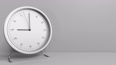 hour hand : Round clock shows 9:00 or 21:00 sharp. Nine or twenty-one oclock. 3D animation Stock Footage