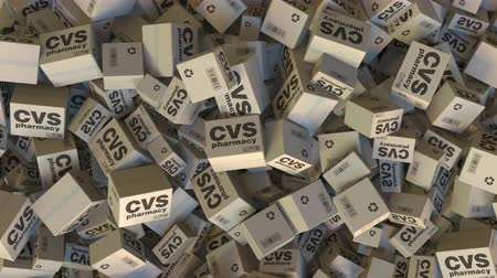 パック : Cartons with CVS PHARMACY logo. Editorial animation 動画素材