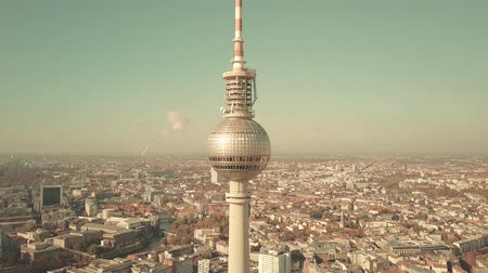 berlin skyline : BERLIN, GERMANY - OCTOBER 21, 2018. aerial shot of famous TV Tower and cityscape on a sunny day