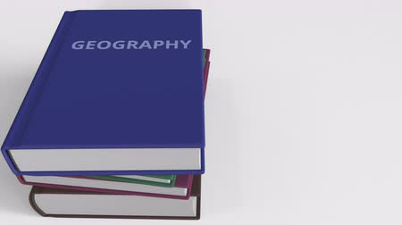 title : GEOGRAPHY title on the book, conceptual 3D animation