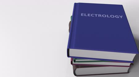 neve : Book with ELECTROLOGY title. 3D animation Stock Footage