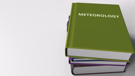 odlišný : Book cover with METEOROLOGY title. 3D animation